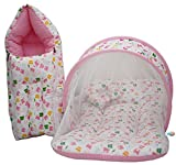 Kiddoscare Baby Mattress With Mosquito Net, Sleeping Bag Combo 0-3 Months- Pink (Print May Vary)