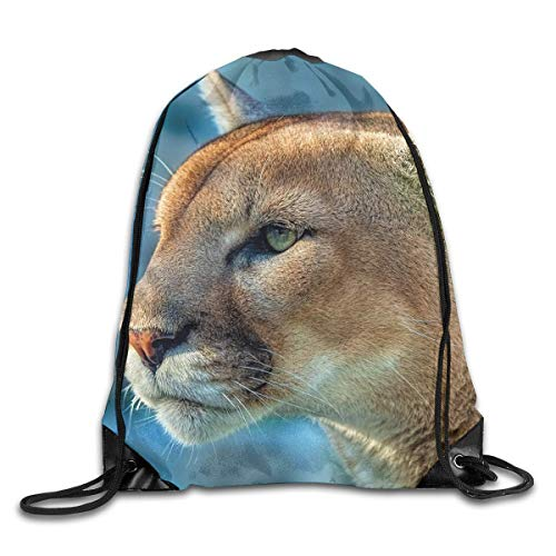 Naiyin Cougar Wild Cat Muzzle AnimalDrawstring Bag Backpack Sackpack Shoulder Bags Gym Bag Lightweight Gym for Men and Women Hiking Swimming Yoga -
