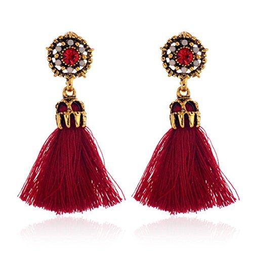 Damen Ohrstecker Retro Style, Ohrringe Elegant ZIYOU Mode Strass Kristall Quaste Baumeln Ohrstecker Modeschmuck (Rot)