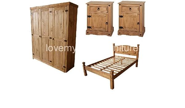 Lovemyhomefurnitures Corona Solid Pine 4 Piece Bedroom Set 4ft 6 Bed Frame 2 Bedside Cabinets 3 Door Wardobe Amazon Co Uk Kitchen Home