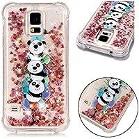 Funda Samsung Galaxy S5 / S5 Neo, JINCHANGWU Cubierta de Silicona TPU Transparente de Gel Suave, Liquid Quicksand Lujo Bling Glitter Sparkle Diamond Shockproof (Panda)