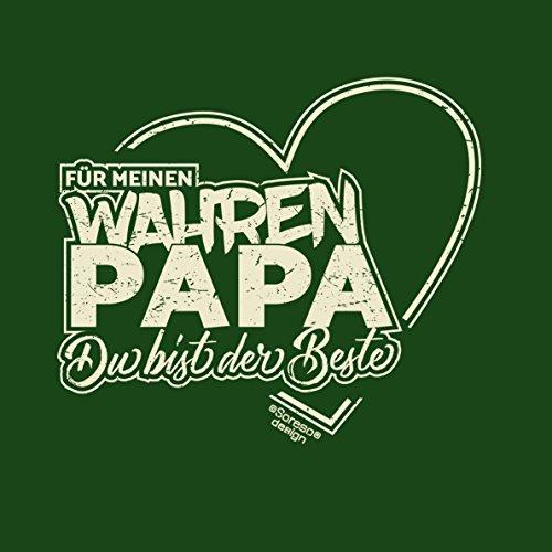 Herren Vatertag Geschenk / T-Shirt im Set auch zum Geburtstag Größen bis 5XL Print Aufdruck Für meinen wahren Papa Farbe: dunkelgrün Dunkelgrün