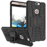 Heartly Coolpad Max A-8 Back Cover Kick Stand Rugged Shockproof Tough Hybrid Armor Dual Layer Bumper Case - Matte Black