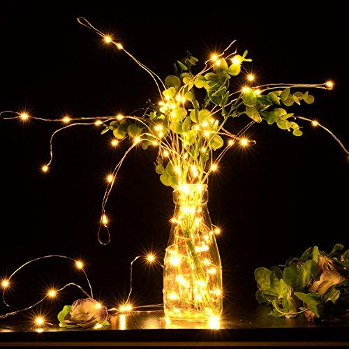 BFTOP AA Batteriebetrieben 5M 50 LEDs Kupferdraht LED Kupfer Lichterkette, Wasserdicht Sternen Lichterketten (warmweiss) - Batterie sind nicht (Halloween Kostüme Glühwürmchen)