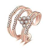 Yeahjoy, anelli da donna eleganti a corona, taglia regolabile, anelli aperti di bigiotteria, con pavè di cristalli, 18ct rosa oro, cod. LKN18KRGPR910