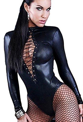 Neue Damen schwarz Wet Look Erotic Teddy Schlüsselloch öffnen schnüren oben Body-reizvolle Wäsche Monokini Gymnastikanzug Medium 38-40 (Öffnen Schlüsselloch)