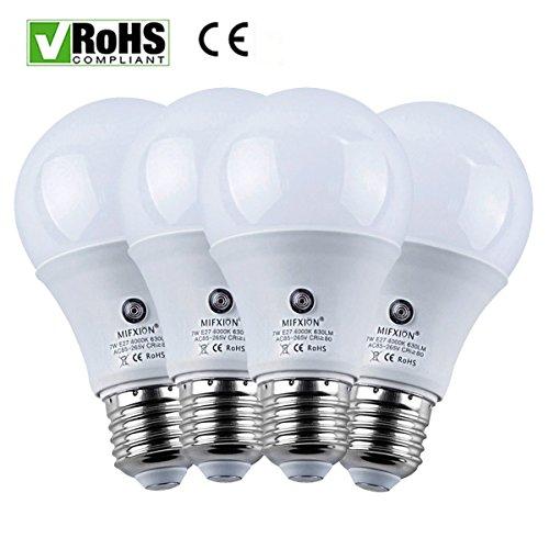 4er Pack E27Filter Trafo 7Watt 630Lumens für LED Sensor Leuchtmittel Licht Lampe für Veranda Flur Terrasse Garage-eingebautem Photosensor Erkennung Automatische Schalter Energy Saver Licht (4000K) (Filter Nacht Ersatz)