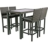 Bar Set Jazz Stone 5teilig 4 Hocker 1 Tisch mit Glasplatte