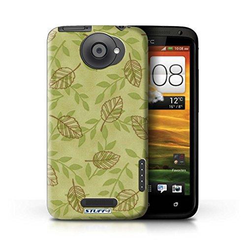 Kobalt® Imprimé Etui / Coque pour HTC One X / Rouge/Violet conception / Série Motif Feuille/Branche Vert/Brown