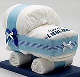 Windeltorten-Welt Kleine Windeltorte/Windelwagen blau für Jungen - mit Lätzchen Mamas Liebling - das perfekte Geschenk zur Geburt oder Taufe + gratis Klappkarte