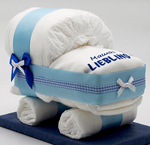 """Windeltorten-Welt Kleine Windeltorte/Windelwagen blau für Jungen – mit Lätzchen""""Mamas Liebling"""" – das perfekte Geschenk zur Geburt oder Taufe + gratis Klappkarte"""