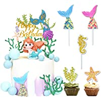 IHUIXINHE Mermaid Glitter Happy Birthday Cake Topper and Gold Glitter Mermaid Cake Decoration with Seaweed, Mermaid Tail, Starfish and Seahorse, for Mermaid Birthday Party Supplies (12 Pack)