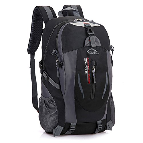 Zcl leggero zaino da escursionismo, 30l impermeabile in nylon Day Pack?Campeggio Rock climbing Travel Backpacking, unisex, Black Black