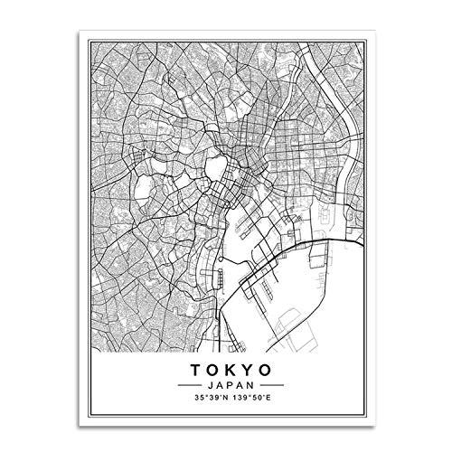 auguce Dipinti Mappa Nordic Minimalista World Famous Città Tela Berlino Oslo Poster Stampa Wall Art Immagini di Soggiorno casa, 15x20 cm Senza Cornice, Tokyo