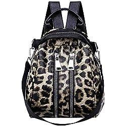 Rawdah_Bolso Mujer Bandolera Bolso desigual Bolso Hombro Pequeños Bolso de escuela con estampado de leopardo de cuero para niña de mujer Mochila Bolso bandolera de viaje