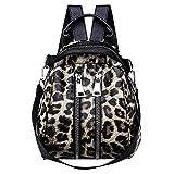 HCFKJ Tasche, Frauen Mädchen Leder Leopardenmuster Schultasche Rucksack Satchel Reise Umhängetasche (BW)