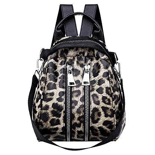 Rawdah_Bolso Mujer Bandolera Bolso Bolso Hombro Pequeños Bolso de escuela con estampado de leopardo de cuero para niña de mujer Mochila Bolso bandolera de viaje