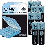 soliBASIC NI-MH Mignon Akku AA 600mAh / 1.2V Rechargeable wiederaufladbar + Aufbewahrungsbox/Batterie-Box - 8er