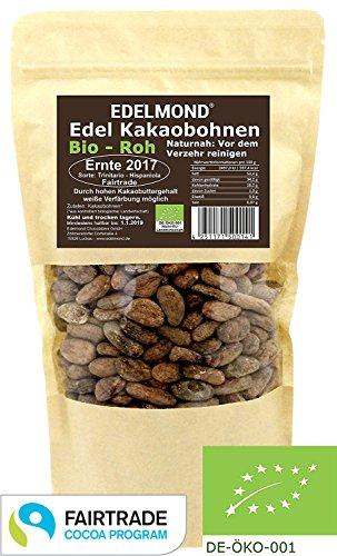 Edelmond Fair Trade Kakaobohnen rohe Bio Frischware. Von der kleinen Kakaofinca. Bio ohne Insektizide, eine Edel-Schokoladen Bohne. 250g