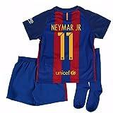 2016-17 Barcelona Home Little Boys Mini Kit (With Sponsor) (Neymar JR 11)