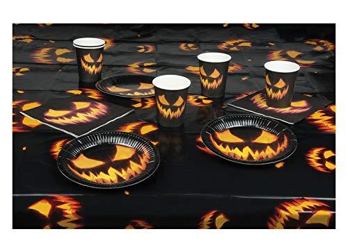 erdbeerparty - Halloween Dekoration Deko - Tisch Set aus 6 Pappbecher Becher Cups, 6 Pappteller Teller Plates, 12 Servietten Napkins und Tischdecke mit feurigem lodernden Flammen Kürbis Gesicht, 25 teilig, Table Set Creepy Pumpkin Fire Face, ideal für jede Halloween Party / Feier, Schwarz
