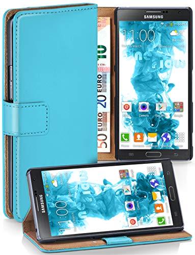 moex® Booklet mit Flip Funktion [360 Grad Voll-Schutz] für Samsung Galaxy Note 3 Neo | Geldfach und Kartenfach + Stand-Funktion und Magnet-Verschluss, Türkis - Galaxy Case 3 Note Leather Wallet