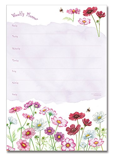 Padblocks Weekly Planner Notepad - Cosmos Flowers (min. 52 pages)