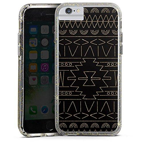 Apple iPhone 6s Plus Bumper Hülle Bumper Case Glitzer Hülle Ethno Gold Muster Bumper Case Glitzer gold