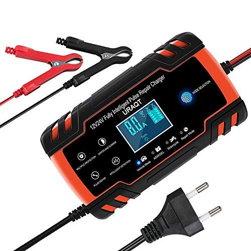 URAQT Batterie Ladegerät Auto, Autobatterie Ladegerät 12V/24V, Autobatterie Ladegerät mit LCD-Bildschirm Batterieladegerät, Erhaltungsladegerät mit Mehrfachschutz für Autobatterie (#1)