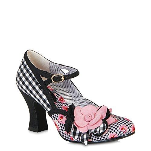 Ruby Shoo DEE Vintage Gingham FLOWER Riemchen PUMPS High Heels Rockabilly (36)