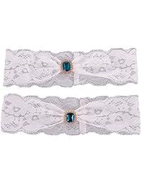 MagiDeal 2pcs/Set Jarretelle Dentelle Fleur Elégant Accessoire de Mariage Prom Cérémonie - Strass Bleu #01