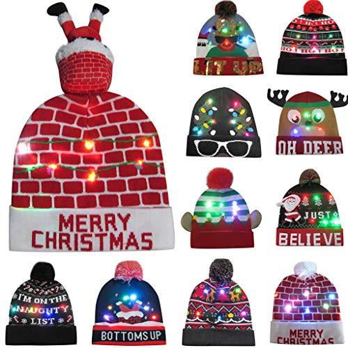 Erwachsene Weihnachtsmütze LED Nikolausmütze mit 3 bunten Lichtern,Warme Schöne Strickmütze Partyhut Xmas Wintermütze Geschenke für Männer Frauen