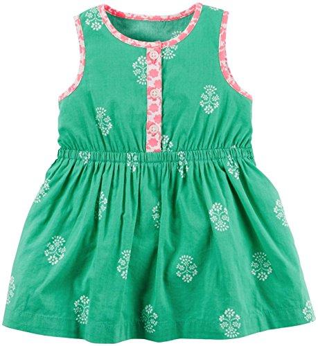 Carters Baby Mädchen bedruckt Kleid mit rosa Rand türkis (Stück 2 Carters Mädchen)