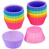 Trexee Round Non-Stick Silicone Bakeware Baking Cup Cake Molds for Muffins, Gelatin, Desserts (Multicolour) - 12