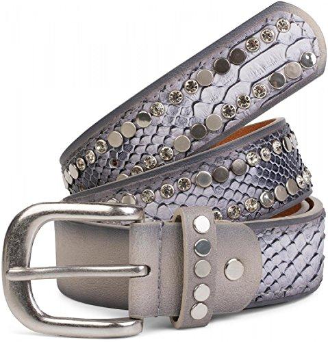 styleBREAKER Gürtel mit flachen Nieten und Strass, Schlangenleder Optik, Ziernaht, Vintage Style, kürzbar, Damen 03010064