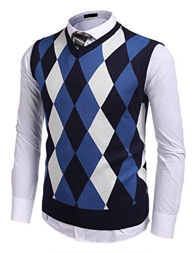 Burlady Herren Pullunder lässig Argyle Muster Herbst Winter V-Ausschnitt Weste Strickweste (XXL, Blau-2) -