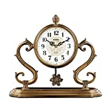 Relojes de Chimenea Familiares Reloj de Mesa de Metal, Reloj de Escritorio Decorativo Moderno Europeo y no Resistente al Tacto Adecuado para Sala de Estar Dormitorio Oficina