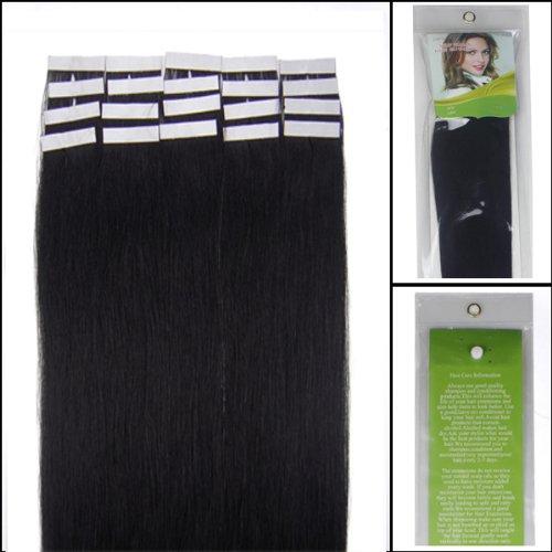 45,7 cm Bandes adhésives Extensions de cheveux humains droite Couleur 01 Noir de jais 40 g 20 pièces Beauté Cheveux Style