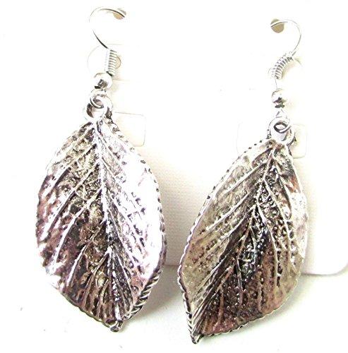 Silber Leaf Ohrringe Drop Boho Ibiza Festival Vintage Haken Grecian Blätter 8im Stil der Zwanzigerjahre (Grecian Ohrringe)