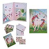 Juego de escritura con diseño de Unicornio para niños (papel de regalo, sobres y postales, set de papelería) - Lucy Locket