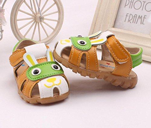 SHOBDW Kleinkind scherzt Baby-Jungen-Sommer-Schuhe mit blinkenden Lichter-Sandelholz-Karikatur-Schuhen Grün