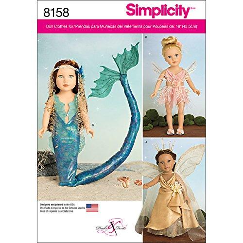 Puppen Kostüm 18 Für Muster - Simplicity Muster 8158Deko Fantasy Kostüme für 18, Puppen Nähen Muster, weiß