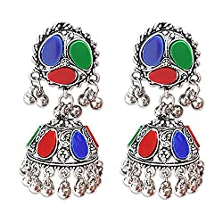 Young & Forever Tribal Muse Navli Navratri Collection Splendid Brass Jaipur Jewels Antique Silver Oxidized Earrings for girls multicolor earrings navratri jewellery for women by CrazeeMania (E60242)