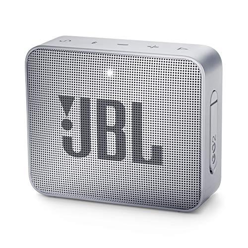 JBL GO 2 kleine Musikbox in Grau – Wasserfester, portabler Bluetooth-Lautsprecher mit Freisprechfunktion – Bis zu 5 Stunden Musikgenuss mit nur einer Akku-Ladung