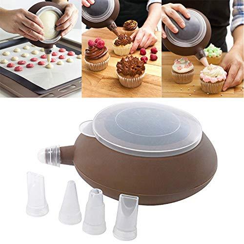 VIONNPPT Dekorierflasche aus Silikon, Deko-Stift mit 4 Tüllen in grün, Spritztüllen Set Basic für Kuchen, Torten, Keksen-Dekoration