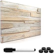Navaris Tablero magnético de apuntes | Tablero rotulable de apuntes 40x60 cm en diseño Stone Wall | Se incluyen rotulador, imanes, montaje