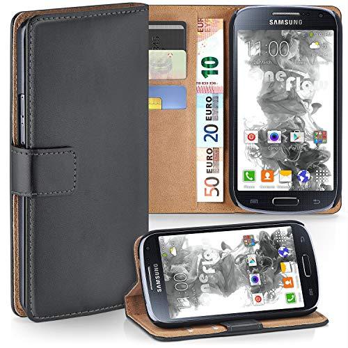 moex Samsung Galaxy S4 | Hülle Dunkel-Grau mit Karten-Fach 360° Book Klapp-Hülle Handytasche Kunst-Leder Handyhülle für Samsung Galaxy S4 / S IV Case Flip Cover Schutzhülle Tasche