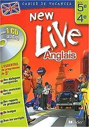 Cahier de vacances New Live : Anglais de la 5e à la 4e (1 livre + 1 CD audio)