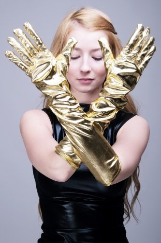 Karneval Fasching Schicke Handschuhe Damenhandschuhe lang Burlesque Gold Goldfarben Futuresk Z073 (Sexy Lange Handschuhe)