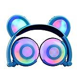 TF Karte Kinder 'S CAT Ohr Headset Light-Emitting Kopfhörer, mamum Kids Kopfhörer mit Katze Ohr LED auf-Headset, zusammenklappbar für Kinder Kopfhörer Einheitsgröße blau